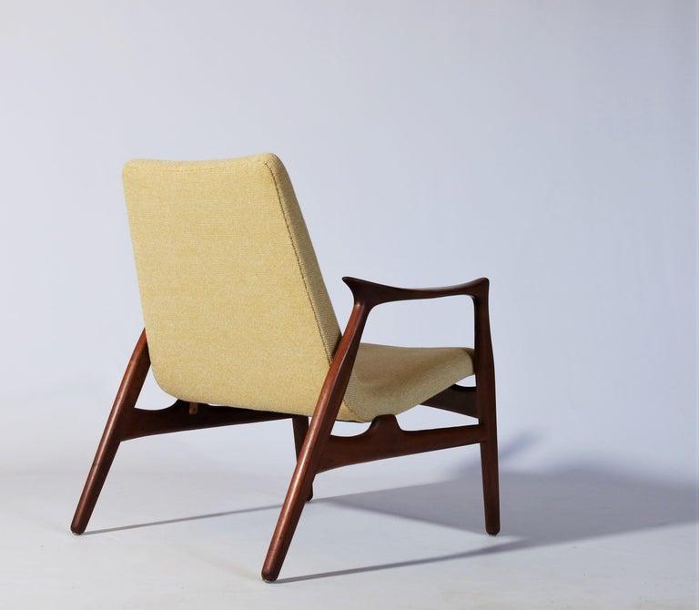 Wool Danish Modern Easy Chair in Teak Wood by Arne Hovmand Olsen, Denmark, 1958