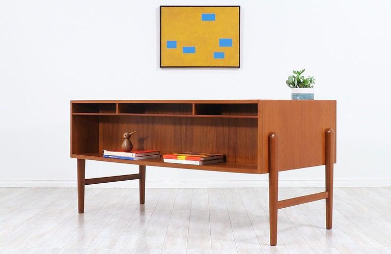 Mid-20th Century Danish Modern Executive Teak Desk with Bookshelf For Sale