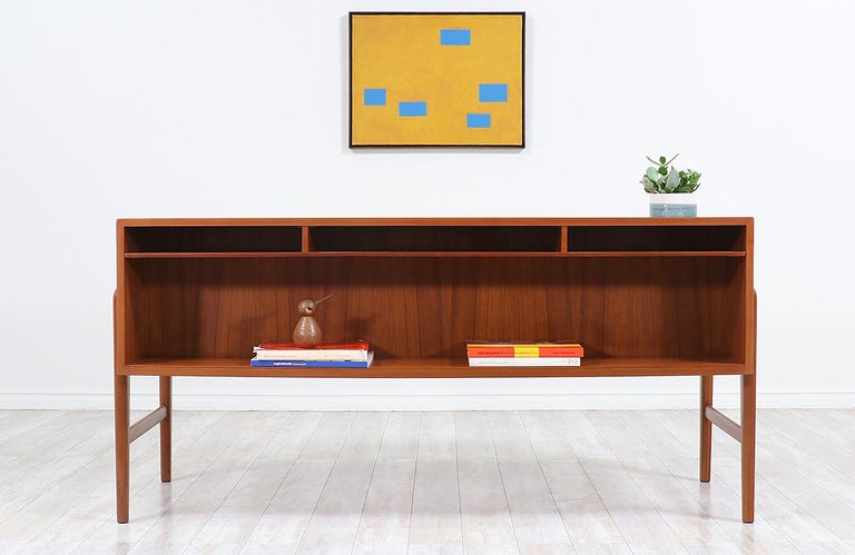 Wood Danish Modern Executive Teak Desk with Bookshelf For Sale
