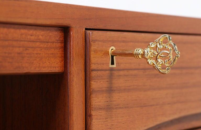 Danish Modern Executive Teak Desk with Bookshelf For Sale 3