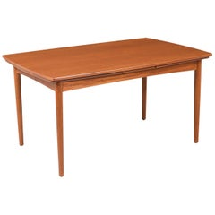 Danish Modern Expanding Draw-Leaf Teak Dining Table