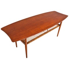 Danish Modern Fish Tail Teak Surfboard Coffee Table