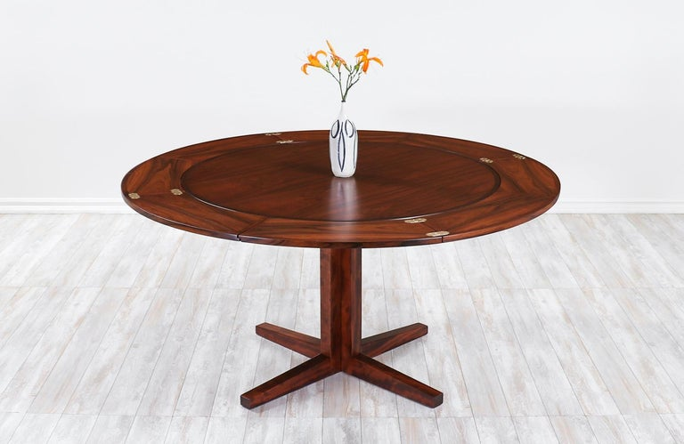 "Danish modern ""Flip-Flap"" rosewood dining table by Dyrlund