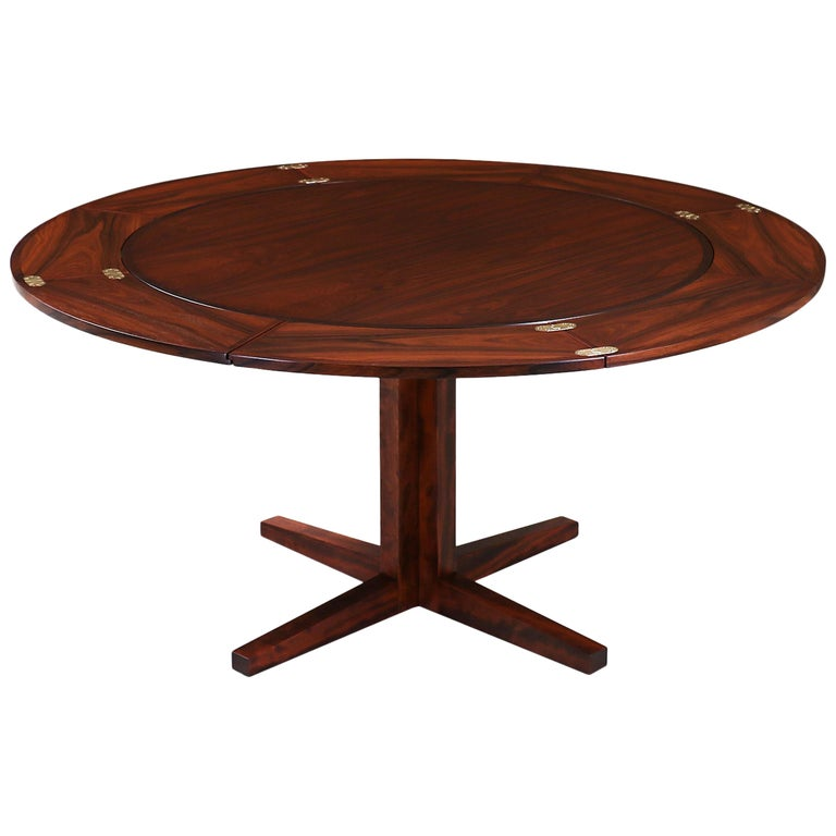"Danish Modern ""Flip-Flap"" Rosewood Dining Table by Dyrlund For Sale"