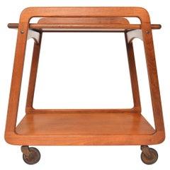Danish Modern Flip Top Bar Cart in Teak