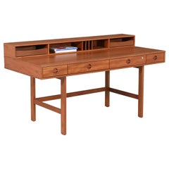 Danish Modern Flip-Top Executive Teak Desk by Peter Løvig Nielsen