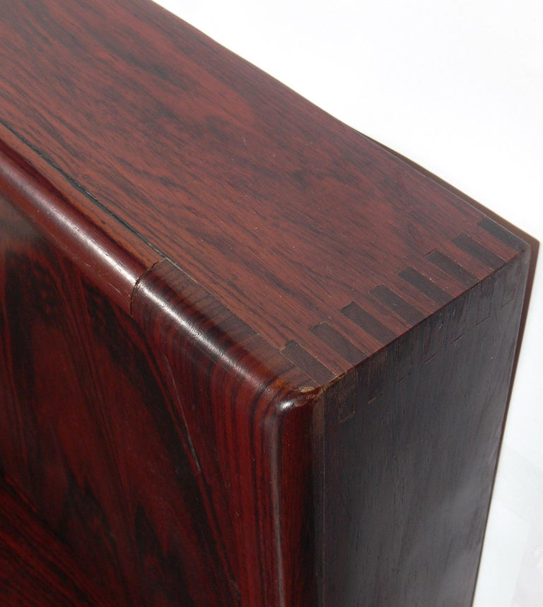 """Danish Modern """"Floating"""" Rosewood Bed With Integrated"""