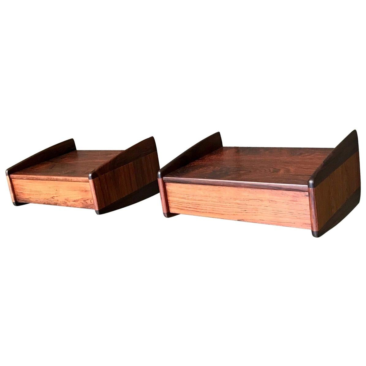 Danish Modern Floating Rosewood Nightstands by Melvin Mikkelsen, 1960s, Set of 2
