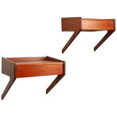 Danish Modern Floating Teak Shelves by Ølholm 1960s Set of 2