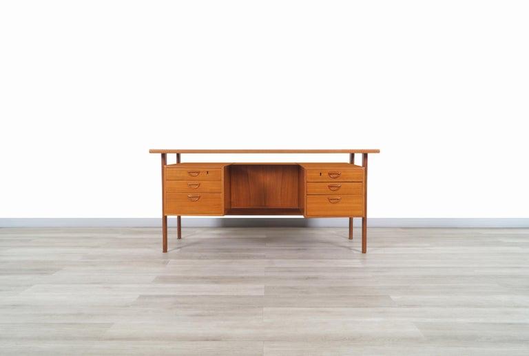 Teak Danish Modern Floating Top Desk by Kai Kristiansen For Sale