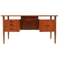 Danish Modern Floating-Top Desk with Bookshelf