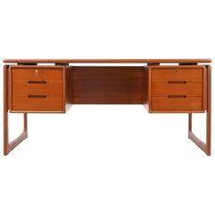 Danish Modern Floating-Top Teak Desk with Bookshelf by Dyrlund