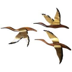 Danish Modern Flying Geese Wood Brass Birds Wall Sculpture