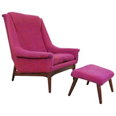 Danish Modern Folke Ohlsson Style Bramin Teak Easy Lounge Chair & Ottoman