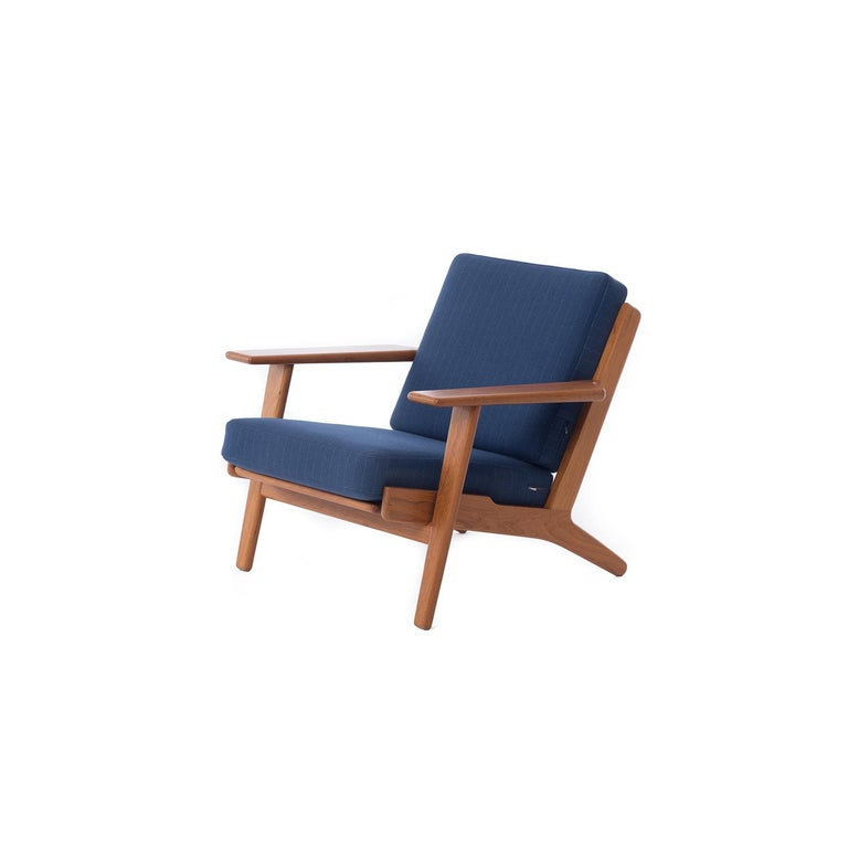 Lacquered Danish Modern GE290 Teak Lounge Chairs by Hans J. Wegner GETAMA 290 For Sale
