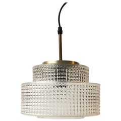 Danish Modern Glass and Brass Ceiling Lamp by Vitrika, 1960s