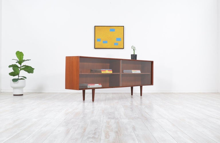 Mid-Century Modern Danish Modern Glass Door Credenza/Bookcase by H.P. Hansen For Sale