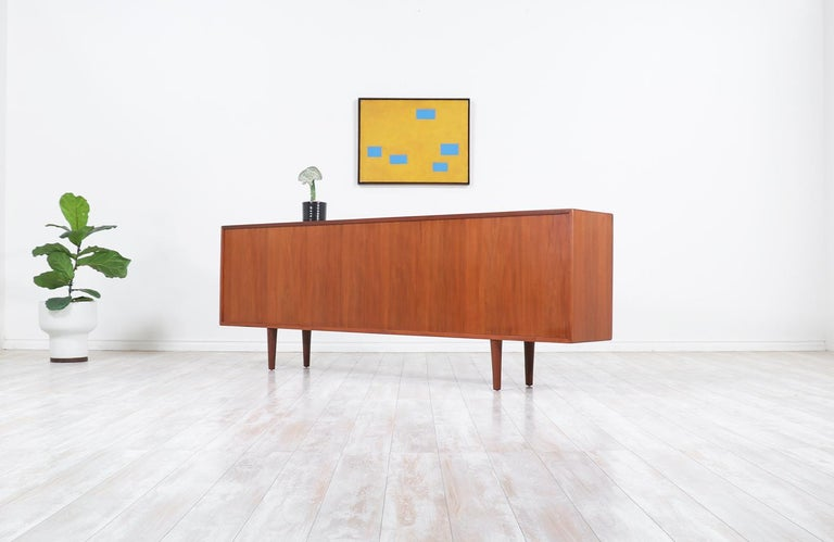 Danish Modern Glass Door Credenza/Bookcase by H.P. Hansen In Excellent Condition For Sale In Los Angeles, CA