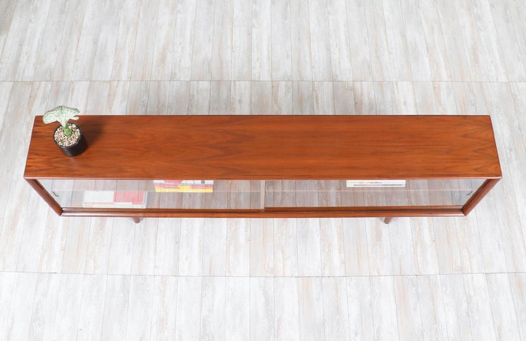 Mid-20th Century Danish Modern Glass Door Credenza/Bookcase by H.P. Hansen For Sale