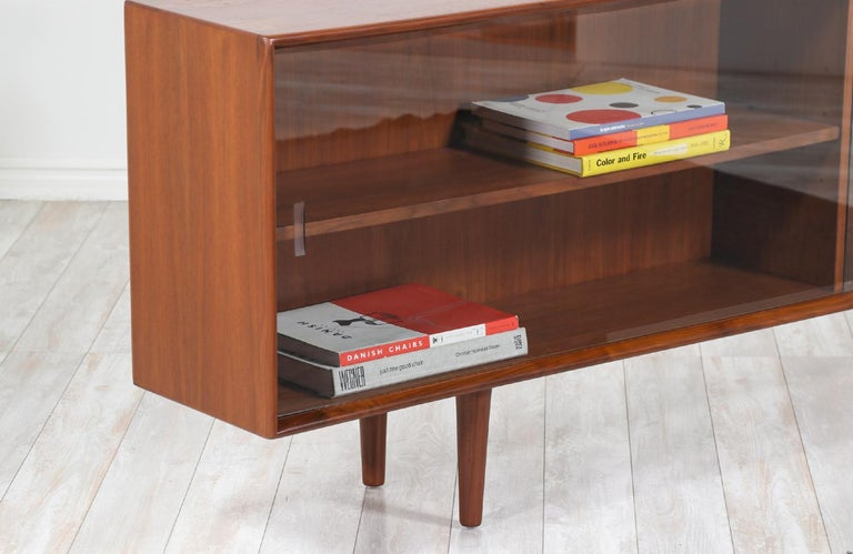 Walnut Danish Modern Glass Door Credenza/Bookcase by H.P. Hansen For Sale