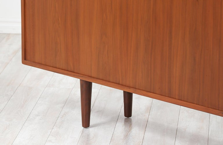 Danish Modern Glass Door Credenza/Bookcase by H.P. Hansen For Sale 1