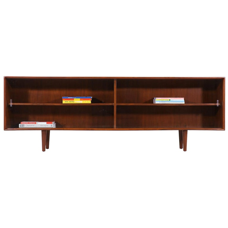 Danish Modern Glass Door Credenza/Bookcase by H.P. Hansen For Sale