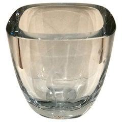 Danish Modern Glass Vase with Etched Reindeer by Strombergshyttan