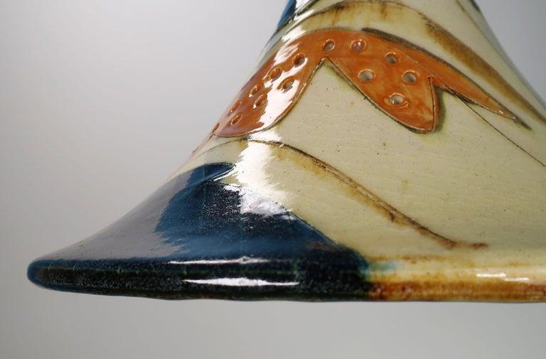 Danish Modern Glazed Ceramic Pendant by Artist Marianne May, 1970s For Sale 12
