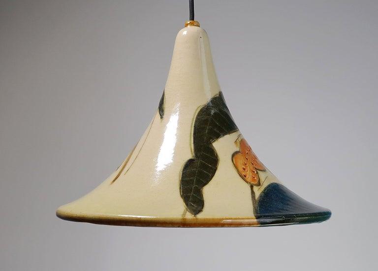 Danish Modern Glazed Ceramic Pendant by Artist Marianne May, 1970s In Good Condition For Sale In Copenhagen, DK