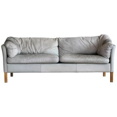 Danish Modern Gray Leather Sofa Model 35 by Mogens Hansen