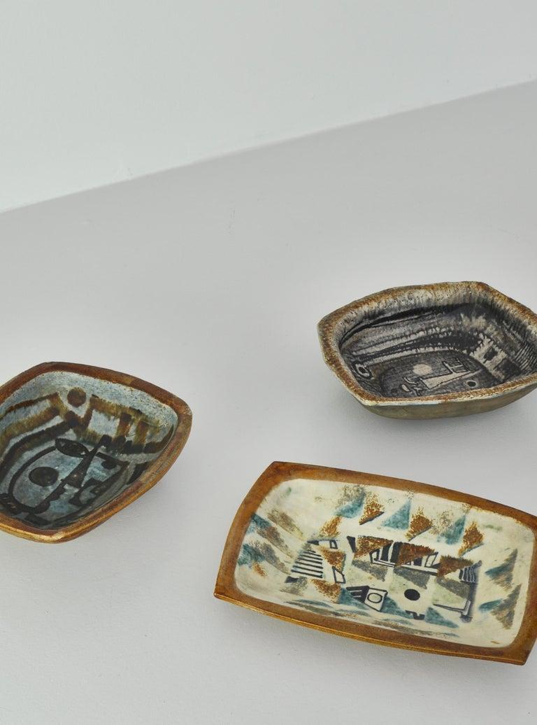 Danish Modern Group of Glazed Ceramics Bowls by Jeppe Hagedorn-Olsen, 1960s For Sale 7
