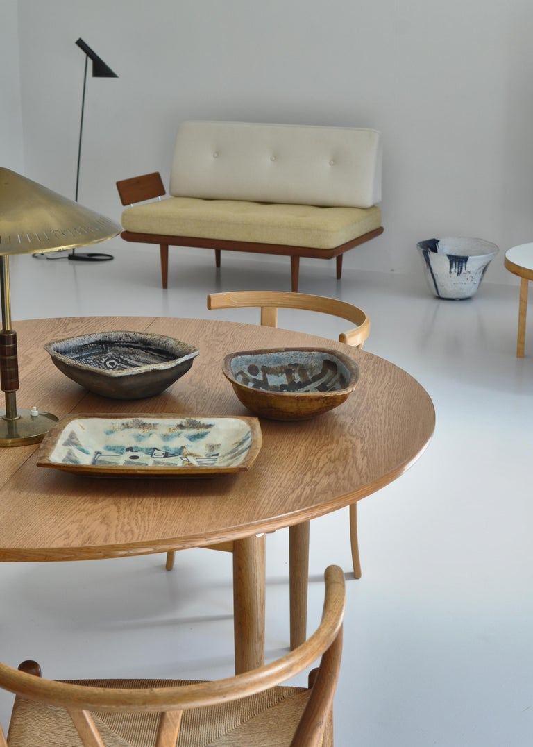 Wonderful set of unique pictured earthenware bowls made by Danish artist Jeppe Hagedorn-Olsen in his own studio in the 1960s. These rare pieces have a rectangular shape and are dating from the beginning of the production of the artist. On the upper