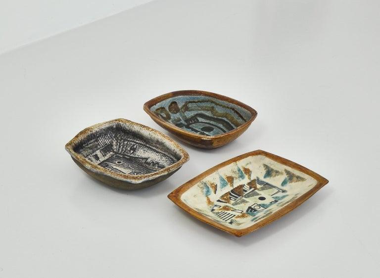 Scandinavian Modern Danish Modern Group of Glazed Ceramics Bowls by Jeppe Hagedorn-Olsen, 1960s For Sale