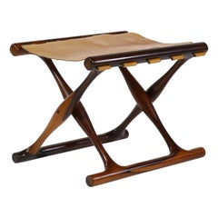 "Poul Hundevad, ""Guldhøj"" Stool in Rosewood and Niger Leather, Danish Modern"