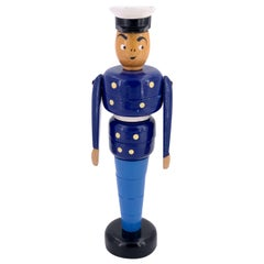 Danish Modern Hand Painted Police Officer Stackable Toy