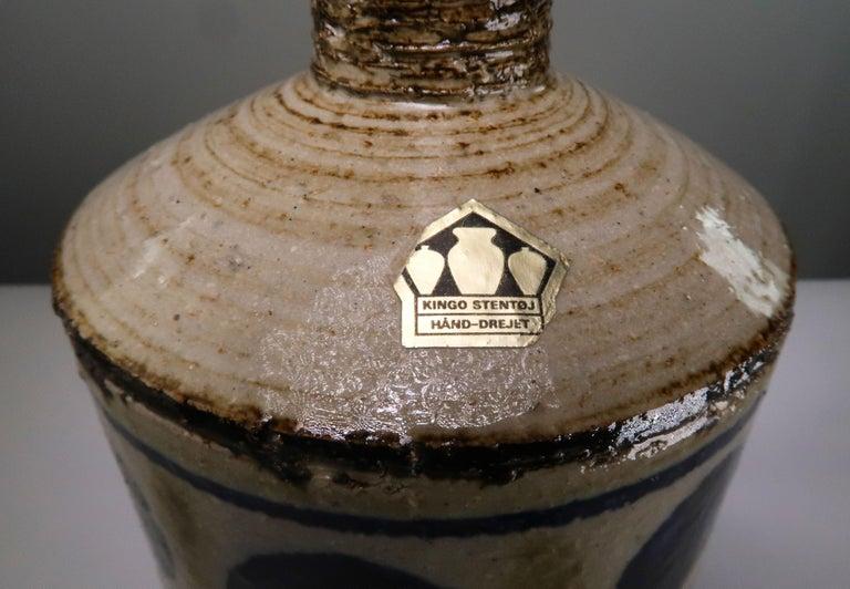 Ceramic Danish Blue Dotted Golden Modern Handmade Stoneware Table Lamp, 1960s For Sale
