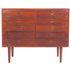 Danish Modern Hardwood Commode with Ten Drawers