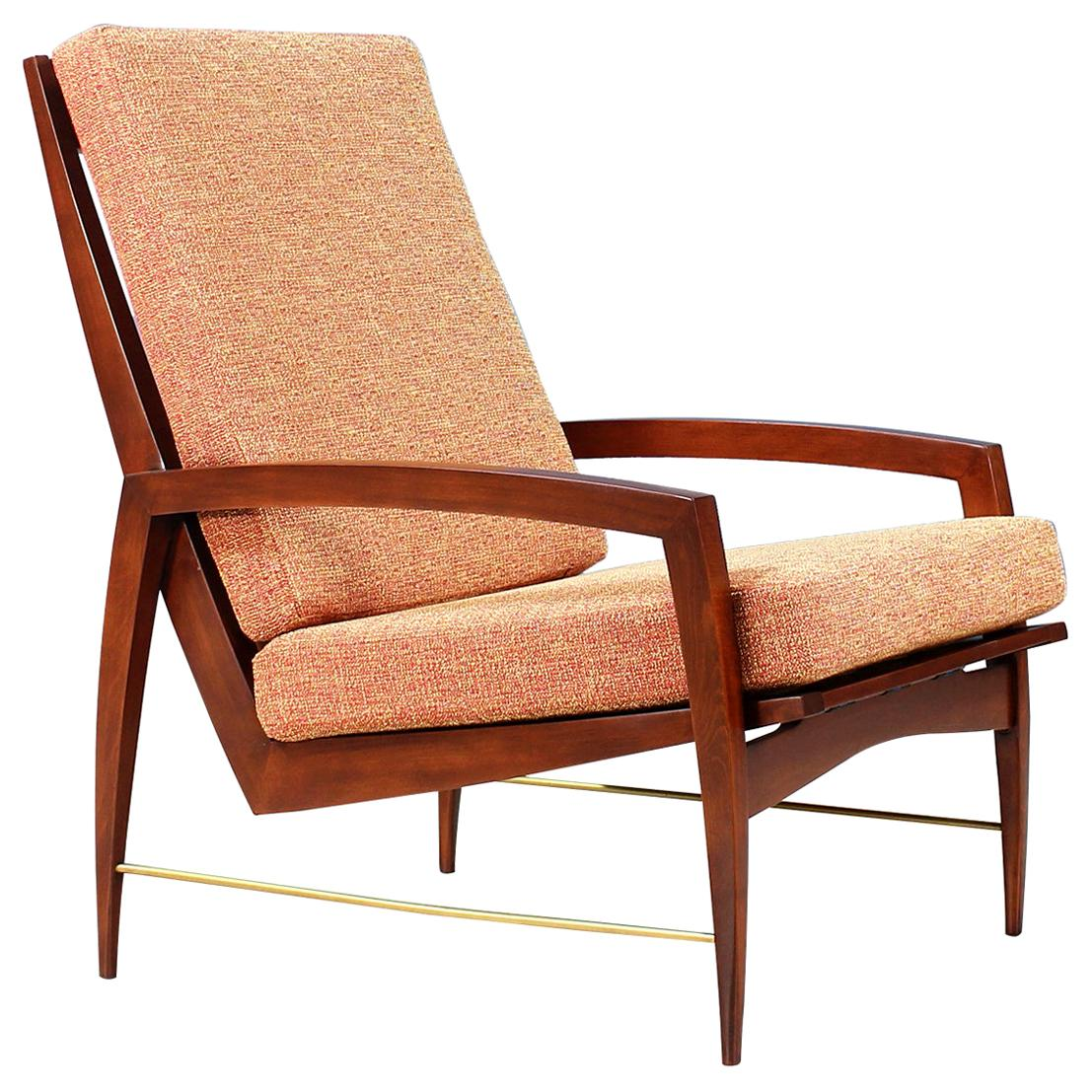 Danish Modern High-Back Lounge Chair with Brass Accents