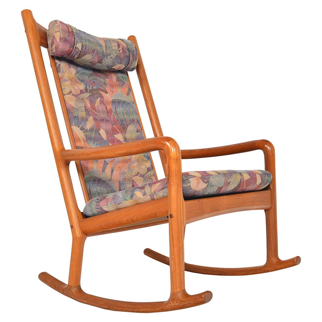 Danish Modern High Back Midcentury Rocking Chair in Teak