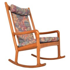 Danish Modern High Back Midcentury Rocking Chair in Teak