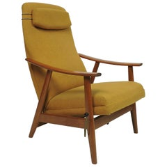 Danish Modern High Back Teak Rocker Recliner Chair by Arnt Lande, Two Available