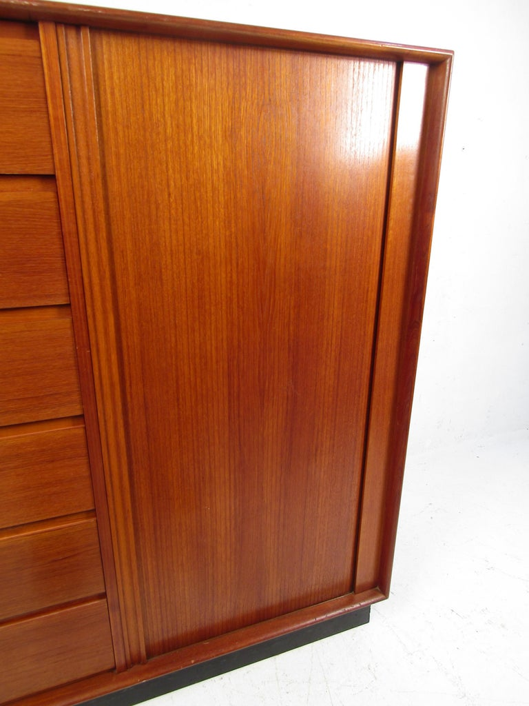 Danish Modern High Dresser with Tambour Door In Good Condition For Sale In Brooklyn, NY