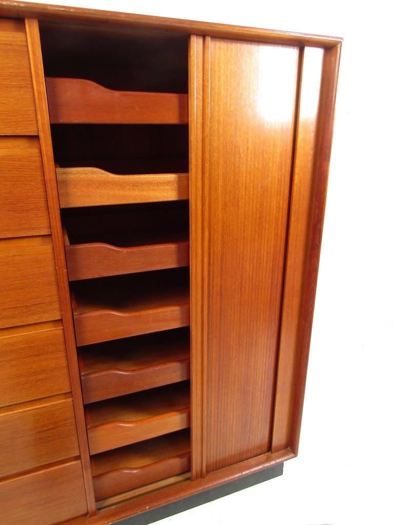 20th Century Danish Modern High Dresser with Tambour Door For Sale