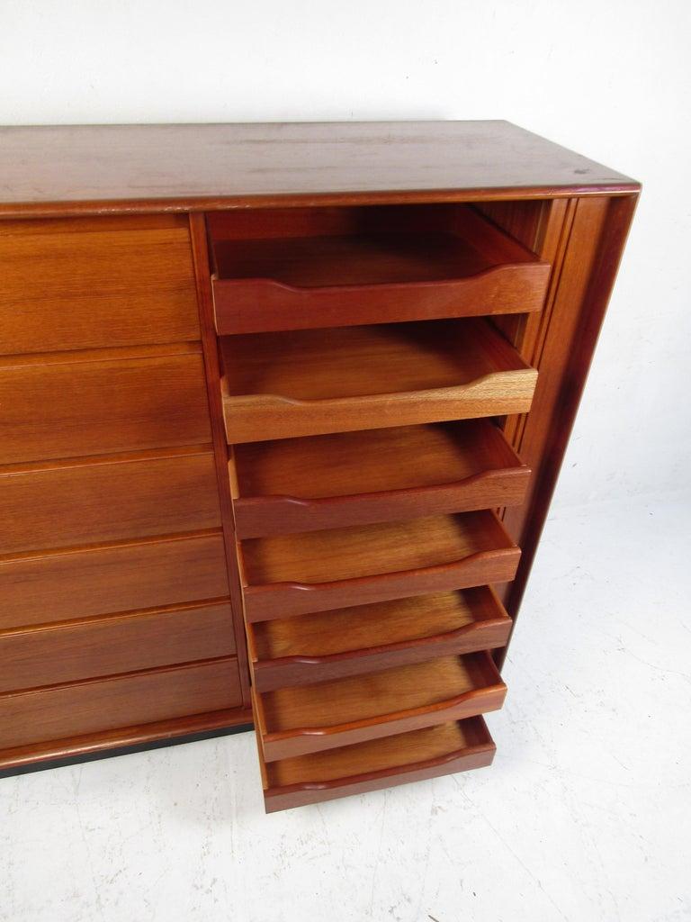 Teak Danish Modern High Dresser with Tambour Door For Sale