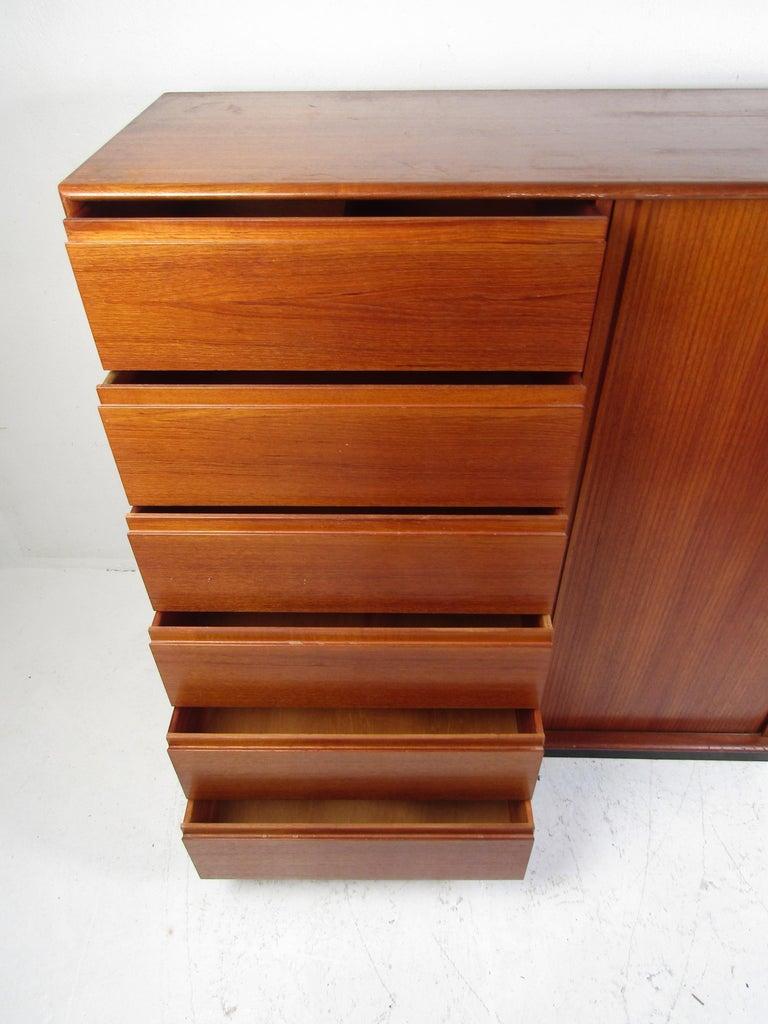 Danish Modern High Dresser with Tambour Door For Sale 1