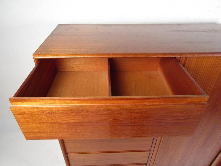 Danish Modern High Dresser with Tambour Door For Sale 2