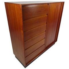 Danish Modern High Dresser with Tambour Door
