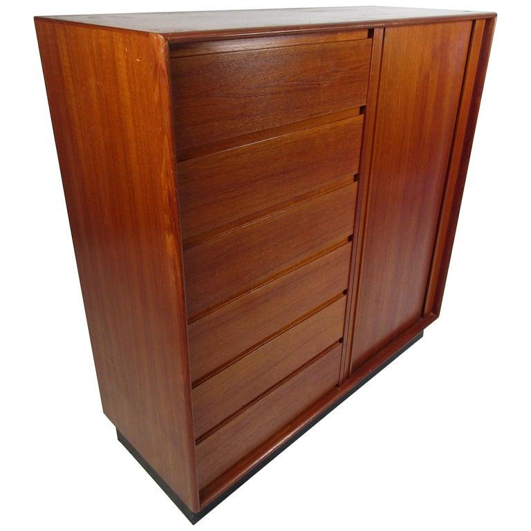 Danish Modern High Dresser with Tambour Door For Sale