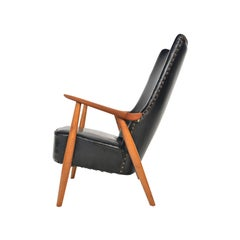 Danish Modern Highback Lounge Chair in Teak and Oak