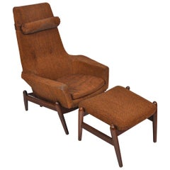 Danish Modern Highback Reclining Lounge Chair and Ottoman by Arnold Madsen